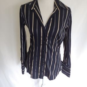 New York & Company Navy Blue Stripe Button Down